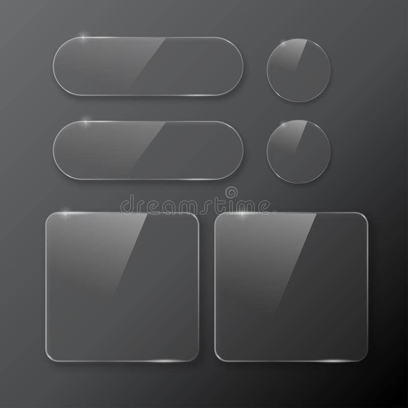 Czarny i biały guzika Round i kwadratowi ustaleni guziki obrazy royalty free