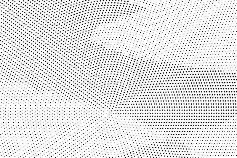 Czarny i biały halftone wektorowy tło Łamany gradient na szorstkiej dotwork teksturze Mały kropkowany halftone ilustracja wektor
