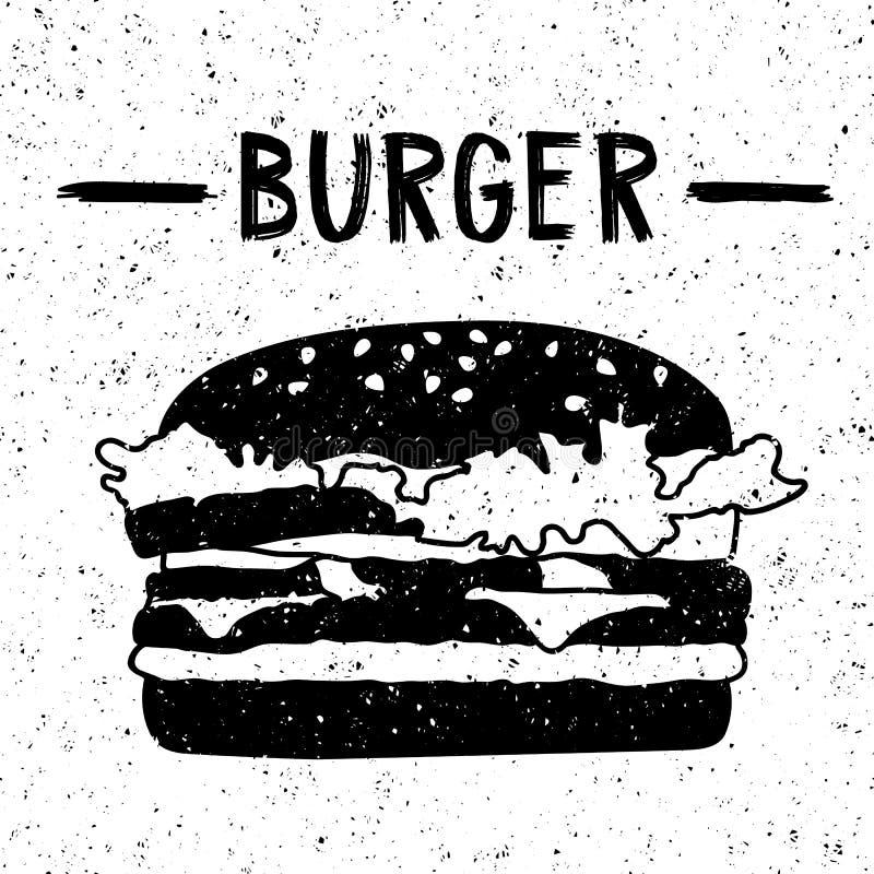 Czarny i biały hamburger zdjęcia royalty free