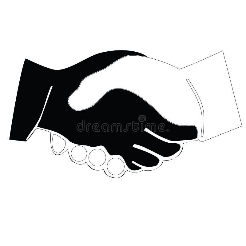 Czarny i biały ikona uścisk dłoni raster royalty ilustracja