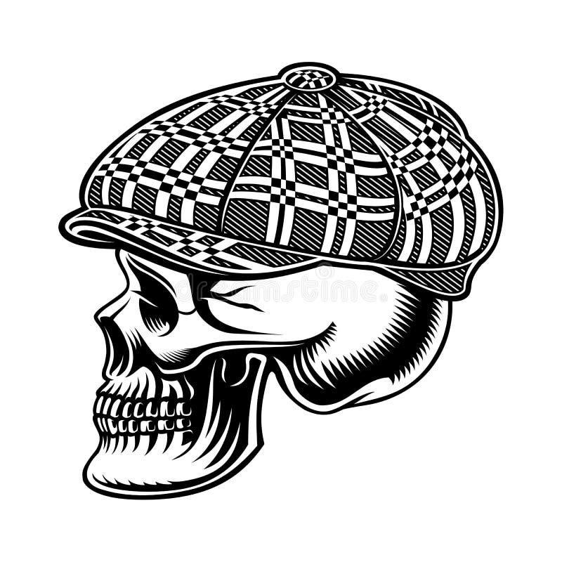 Czarny i biały ilustracja łobuz czaszka w nakrętce ilustracji