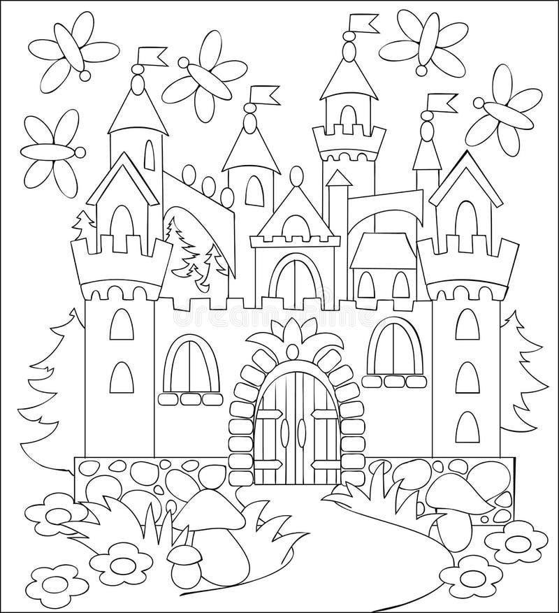 Czarny i biały ilustracja bajkowy średniowieczny kasztel dla barwić ilustracja wektor