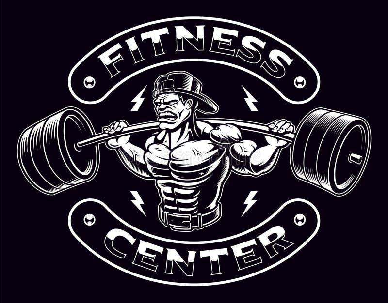 Czarny i biały ilustracja bodybuilder z barbell
