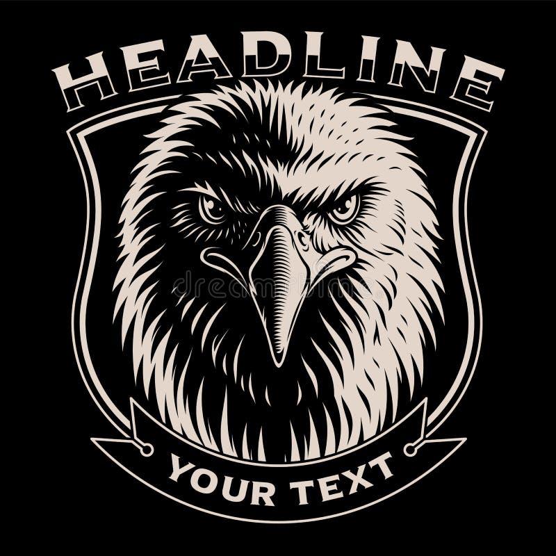 Czarny i biały ilustracja Eagle głowa royalty ilustracja