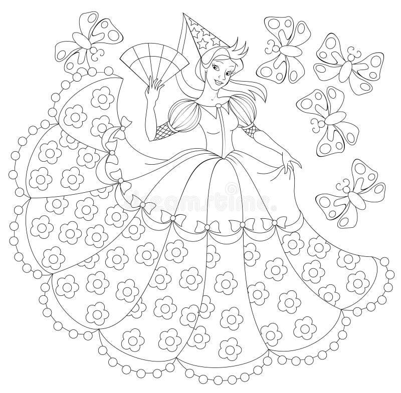 Czarny i biały ilustracja princess dla barwić royalty ilustracja