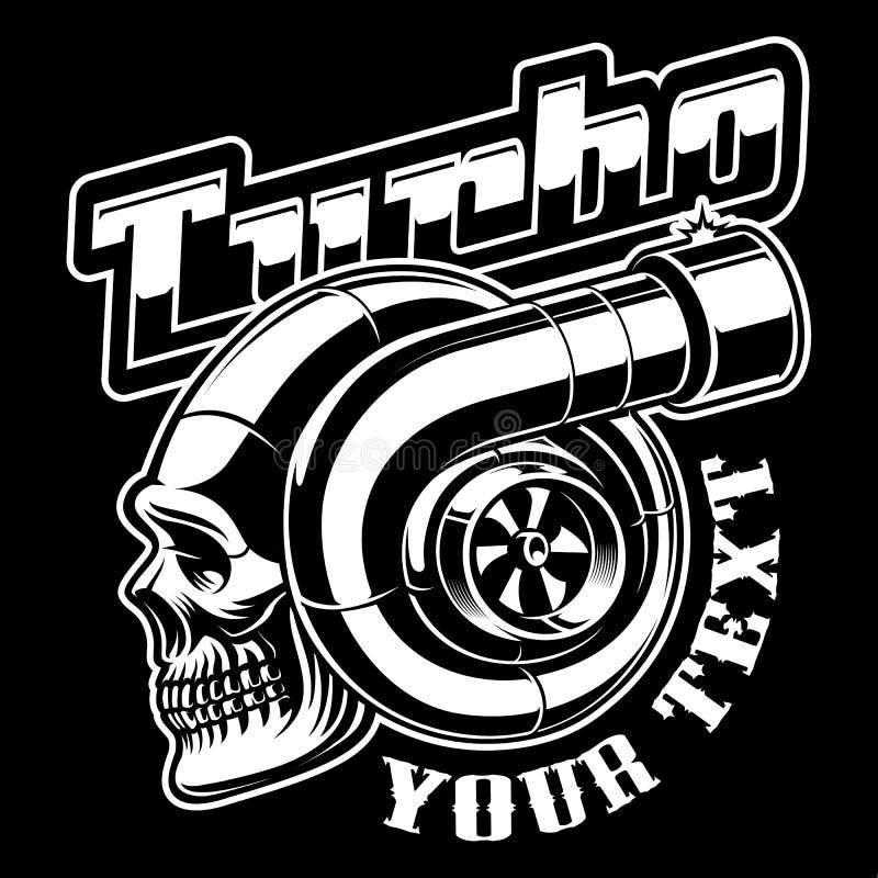 Czarny i biały ilustracja turbocharger z czaszką ilustracji
