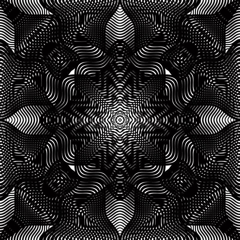 Czarny i biały iluzoryczny abstrakcjonistyczny bezszwowy wzór z overlapp ilustracja wektor