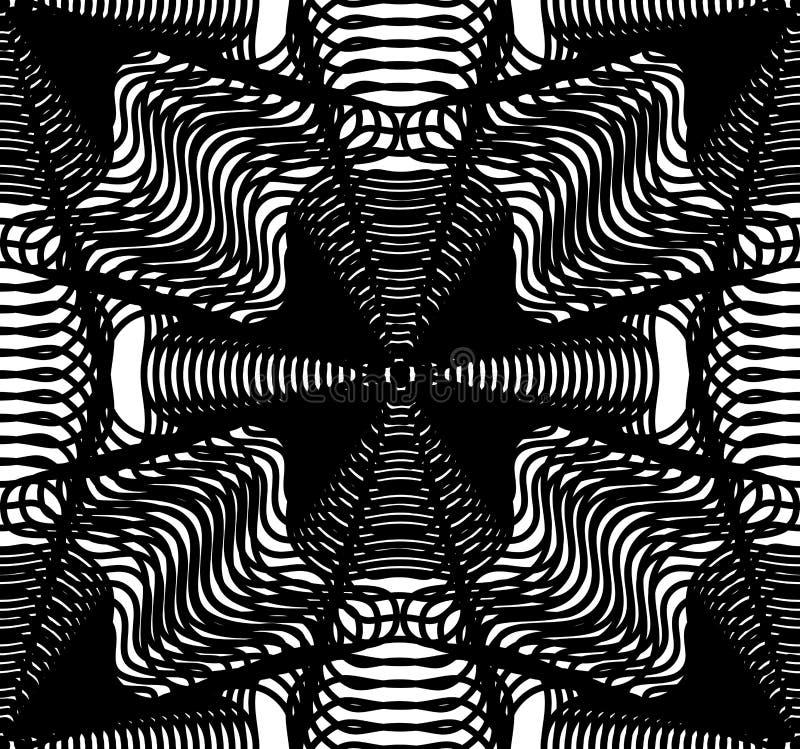 Czarny i biały iluzoryczny abstrakcjonistyczny bezszwowy wzór z overlapp ilustracji