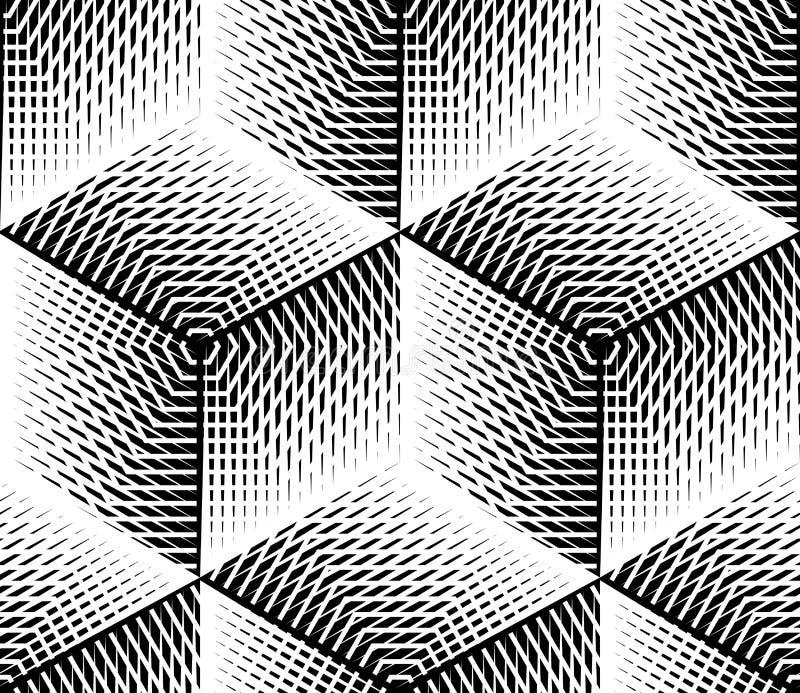 Czarny i biały iluzoryczny abstrakcjonistyczny geometryczny bezszwowy 3d wzór ilustracji