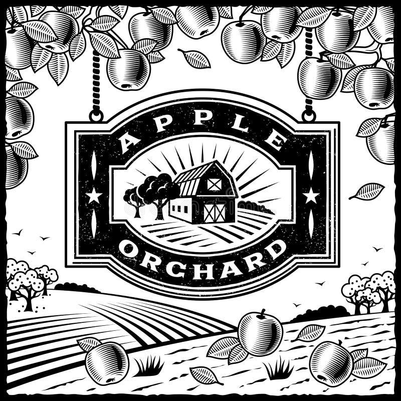 Czarny i biały jabłczany Sad ilustracja wektor