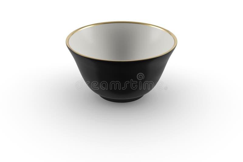 Czarny i biały japończyka lub chińczyka porcelany pusty herbaciany puchar z złocistym obdzierganiem obraz royalty free