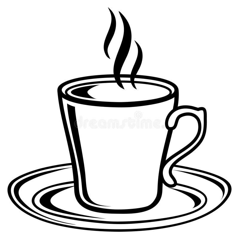Czarny i biały kawowa herbacianej filiżanki ikona ilustracji