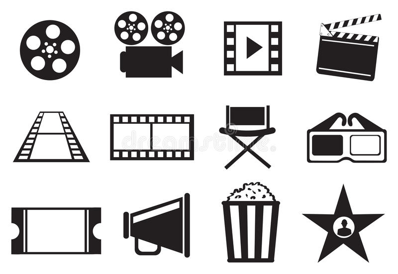 Czarny I Biały Kinowej film rozrywki ikony Wektorowy set ilustracji