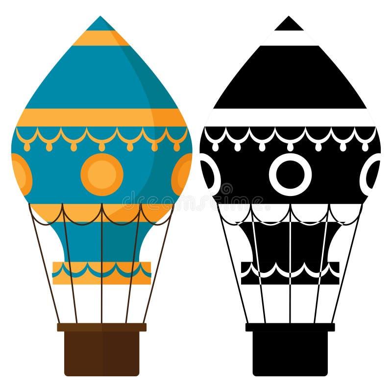 Czarny i biały, kolorowi earostats, Gorące powietrze balonów wektoru ilustracja royalty ilustracja