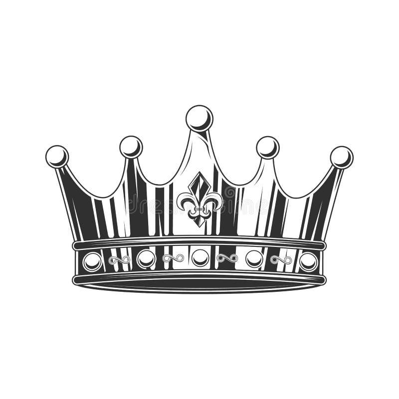 Czarny i biały korona również zwrócić corel ilustracji wektora royalty ilustracja