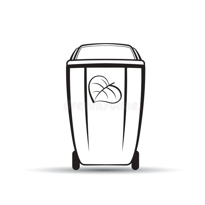 Czarny i biały kosz na śmiecie z liściem ilustracja wektor