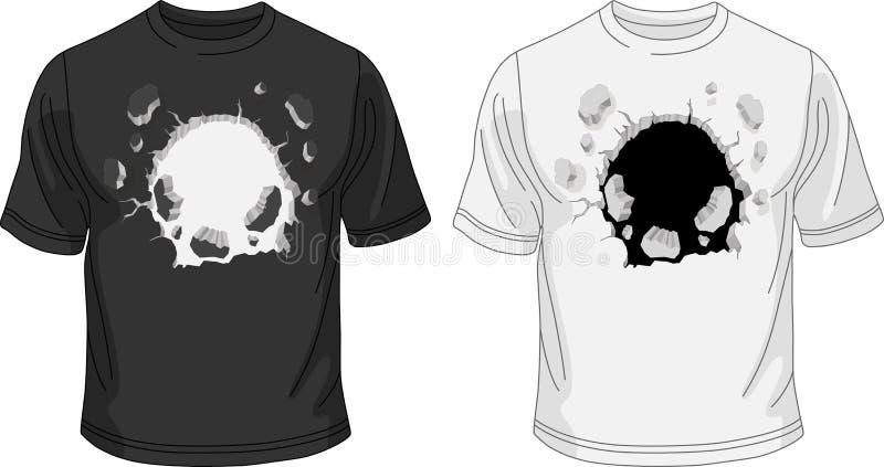 Czarny i biały koszulka szablon z łamaną dziurą royalty ilustracja