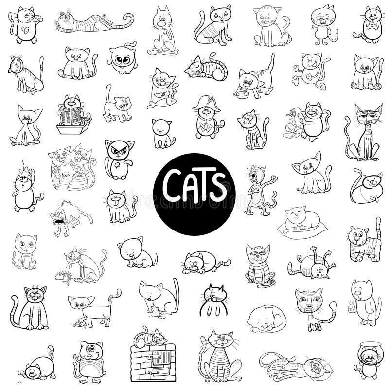 Czarny i biały kotów duży set ilustracji