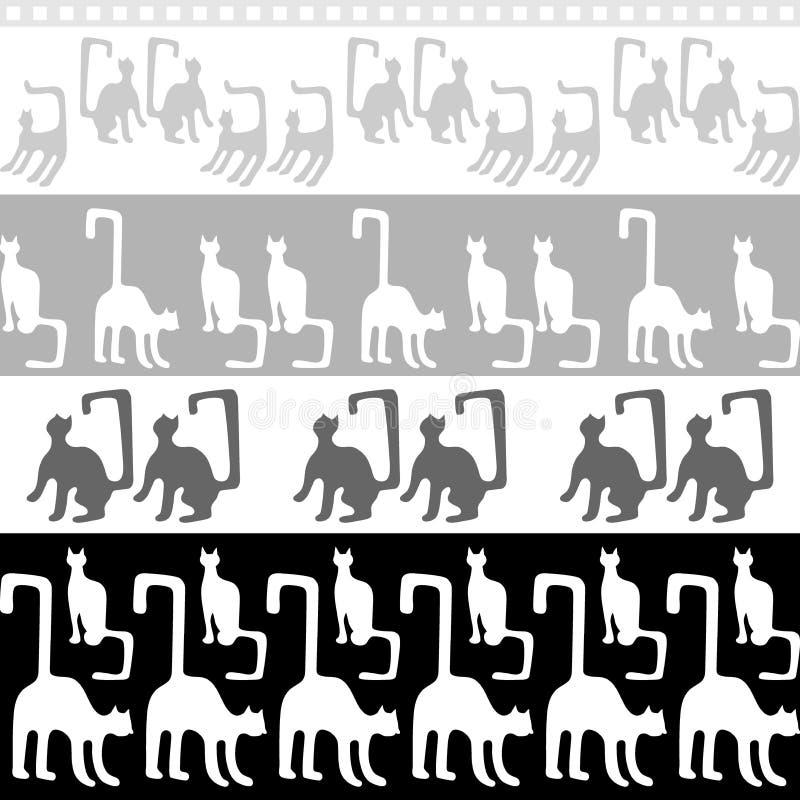 Czarny i biały koty ilustracja wektor