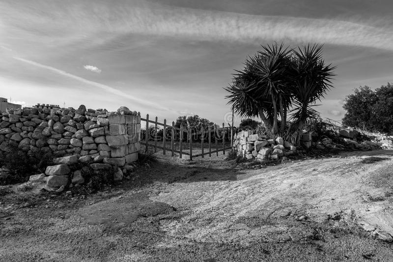 Czarny i biały krajobraz Malta obraz stock