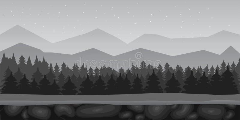Czarny I Biały kreskówki tła lasowy gemowy krajobraz również zwrócić corel ilustracji wektora ilustracja wektor