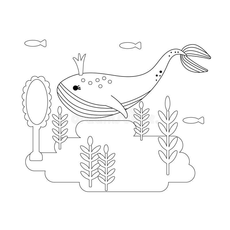 Czarny i biały kreskowej sztuki ikona Wielorybia dziewczyna pod wod spojrzeniami w lustrze Kresk?wka plakat Kolorystyki ksi??ki s royalty ilustracja