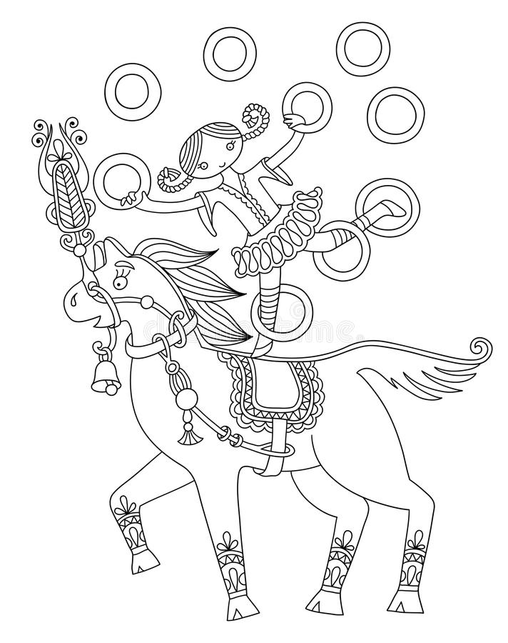 Czarny i biały kreskowej sztuki ilustracja cyrk ilustracja wektor