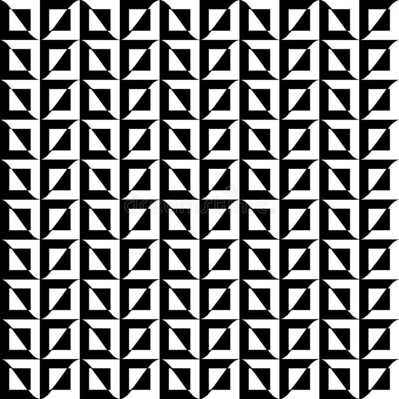 Czarny i biały kwadrata i fala kombinacja w bezszwowym wzorze z wysokiego kontrasta wektorem EPS 10 ilustracja wektor