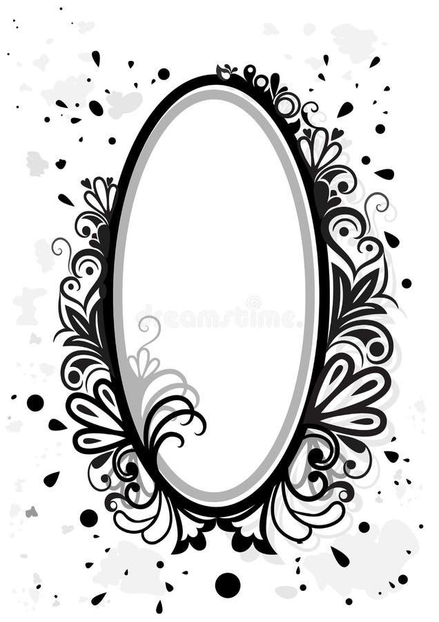 Czarny i biały kwiecista rama royalty ilustracja