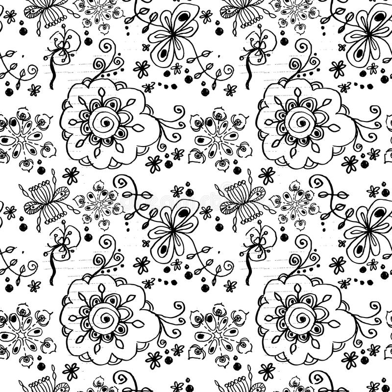 Czarny i biały kwiecisty bezszwowy wzór. ilustracji