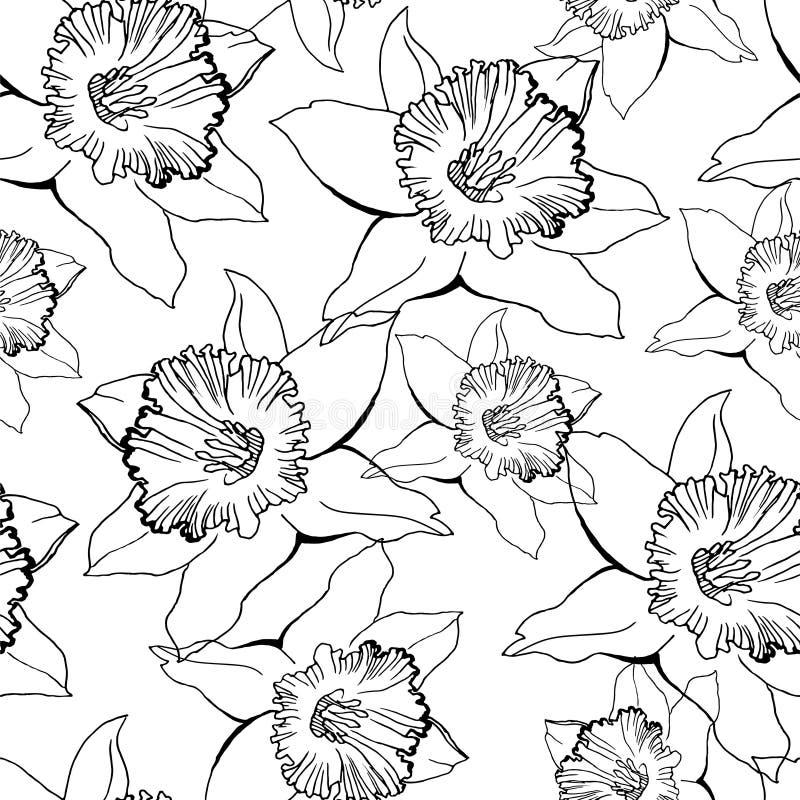 Czarny i biały kwiecisty bezszwowy wzór z konturowymi kwiatami ilustracji
