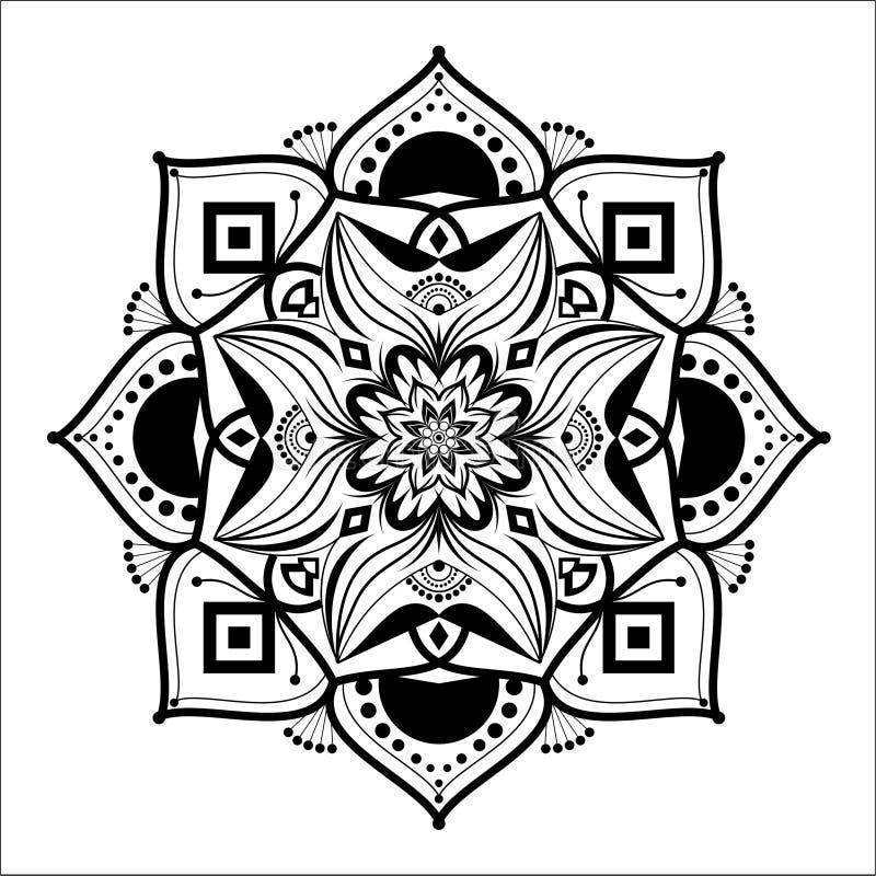 Czarny I Biały Kwiecisty mandala Ilustracyjny Wektorowy projekt ilustracja wektor