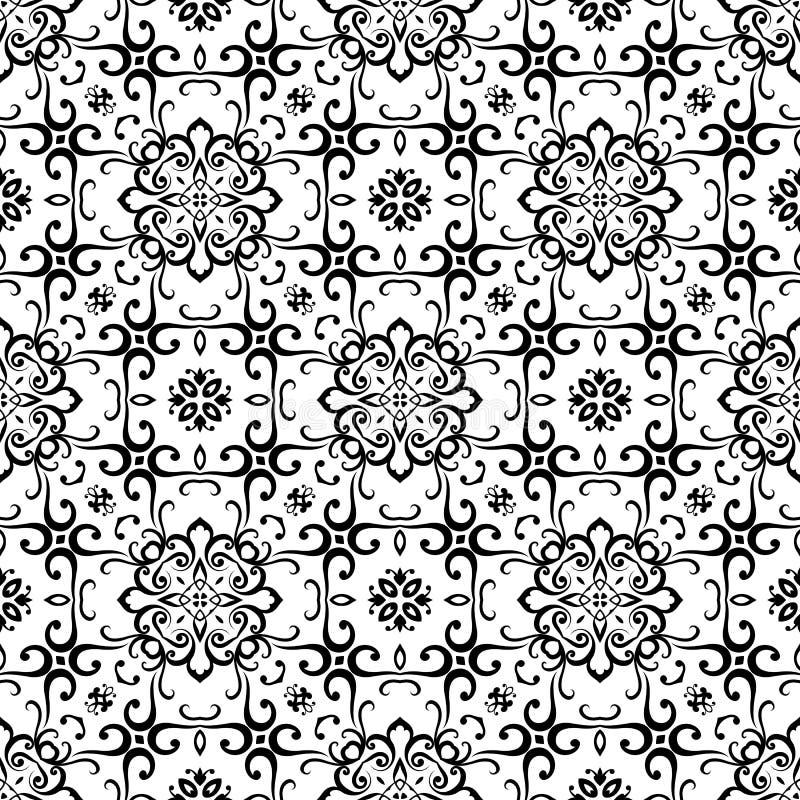 Czarny i biały kwiecisty ornament, bezszwowy wzór ilustracji