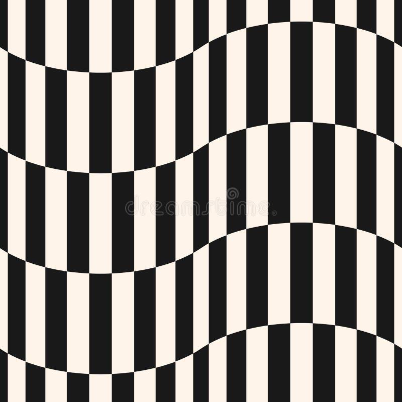 Czarny i biały lampasów wektorowy bezszwowy wzór Pionowo linie, faliści kształty royalty ilustracja