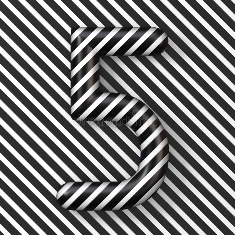 Czarny i biały lampasy liczba 5 PIĘĆ 3D royalty ilustracja