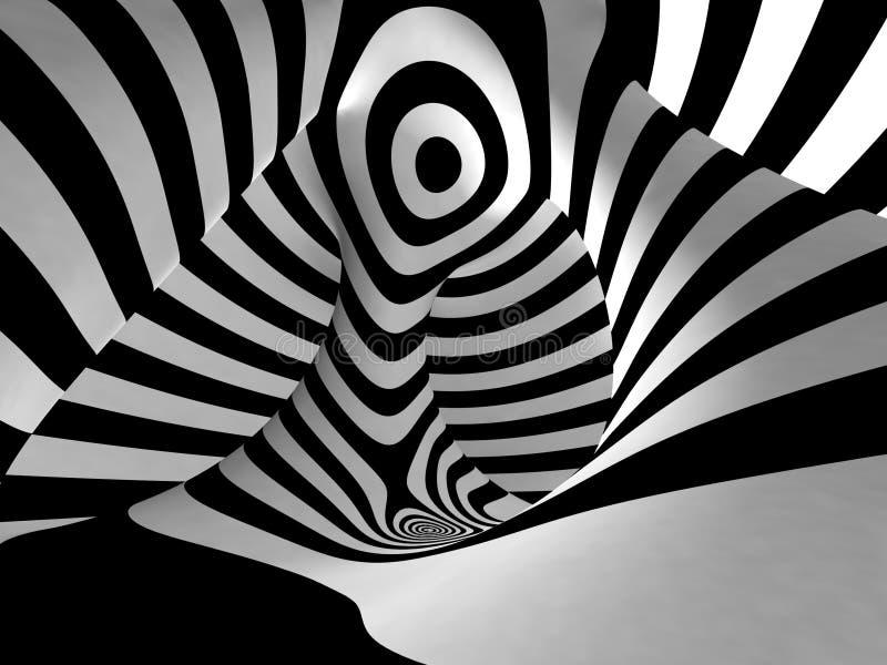 Czarny I Biały lampasy Projekcyjni na torusie. royalty ilustracja