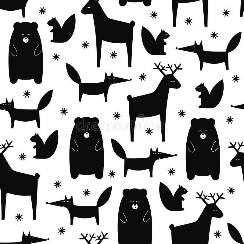 Czarny i biały lasowych zwierząt bezszwowy wzór ilustracja wektor