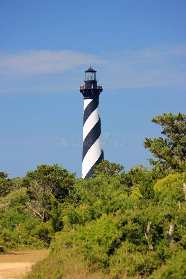 Czarny I Biały latarnia morska w Zewnętrznych bankach Pólnocna Karolina obraz royalty free