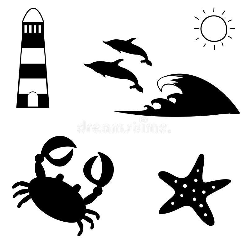 Czarny i biały lato podróży ikony denny set ilustracji