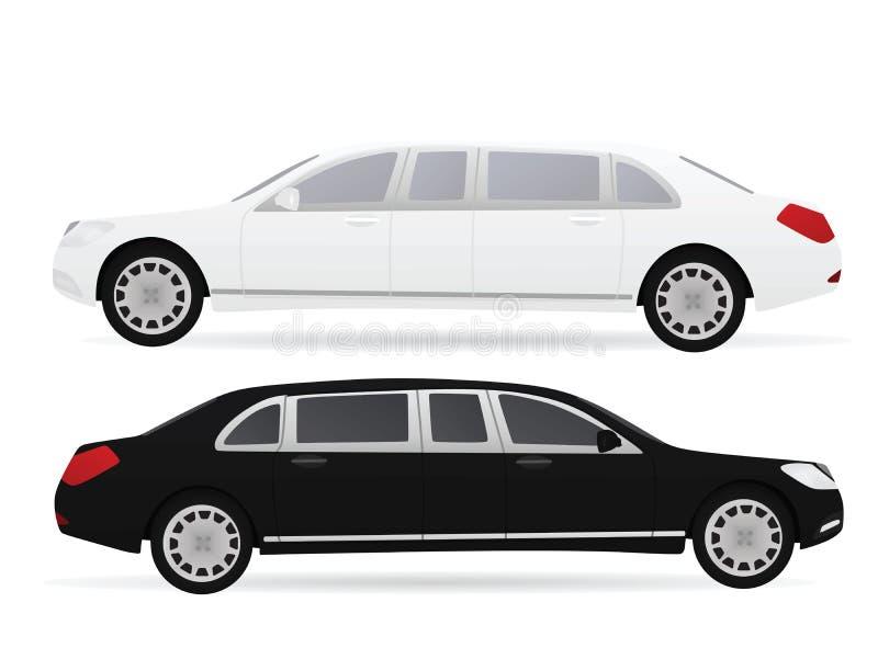 Czarny i biały limo ilustracja wektor
