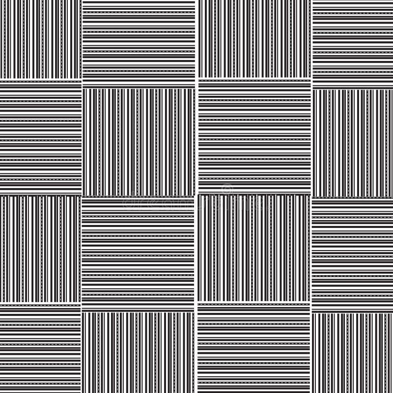 Czarny i biały linia prosta z kropki linią wyplata wzór royalty ilustracja