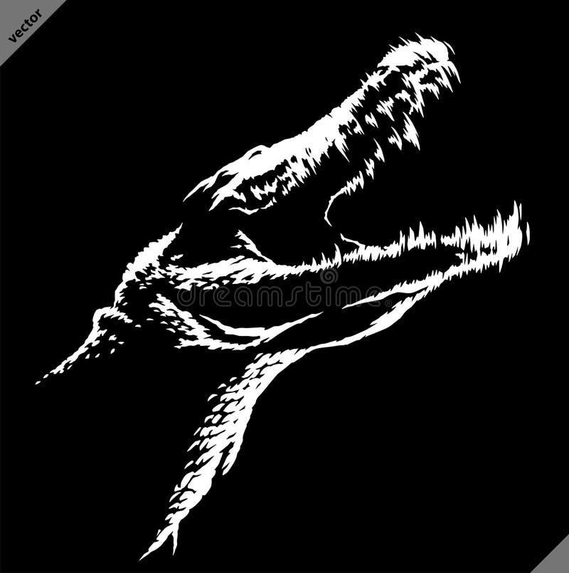 Czarny i biały liniowa farba remisu krokodyla ilustracji sztuka royalty ilustracja