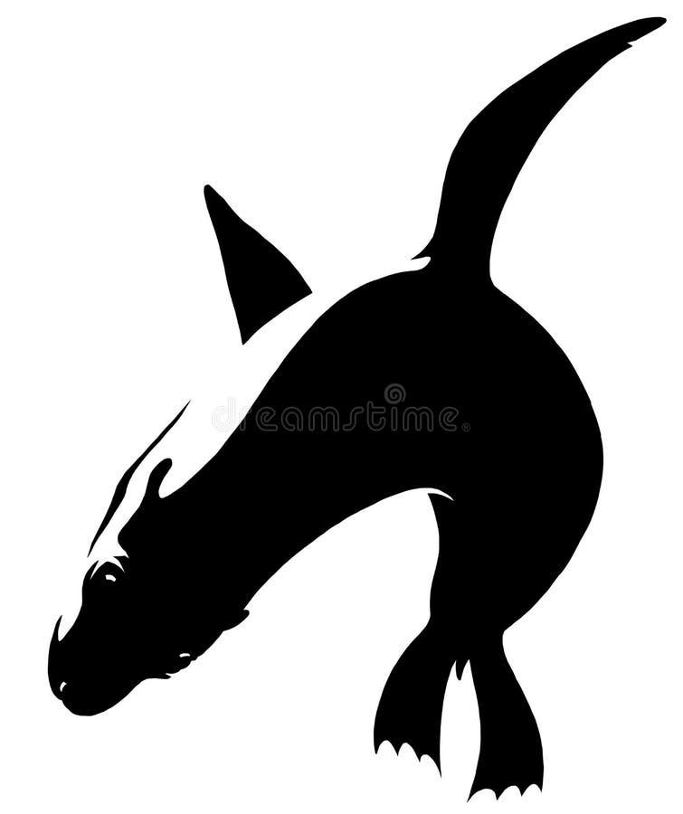 Czarny i biały liniowa farba remisu marynarki wojennej foki ilustracja ilustracji