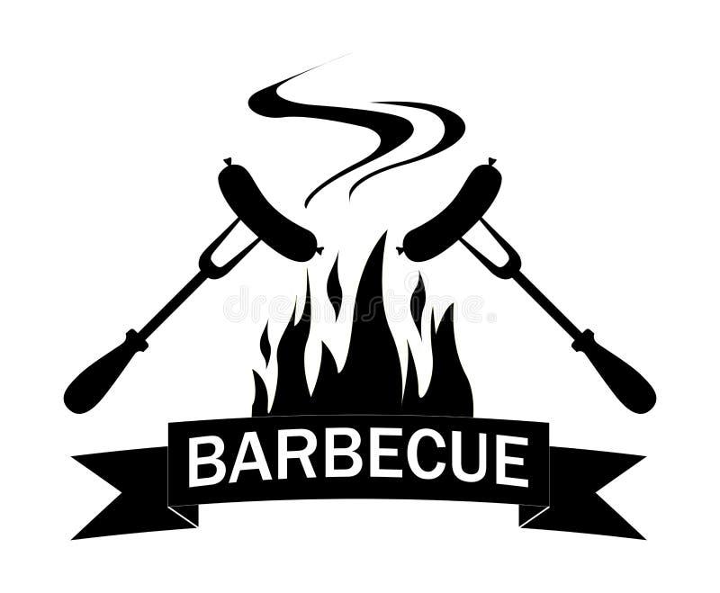 Czarny i biały logo piec na grillu jedzenie ilustracja wektor