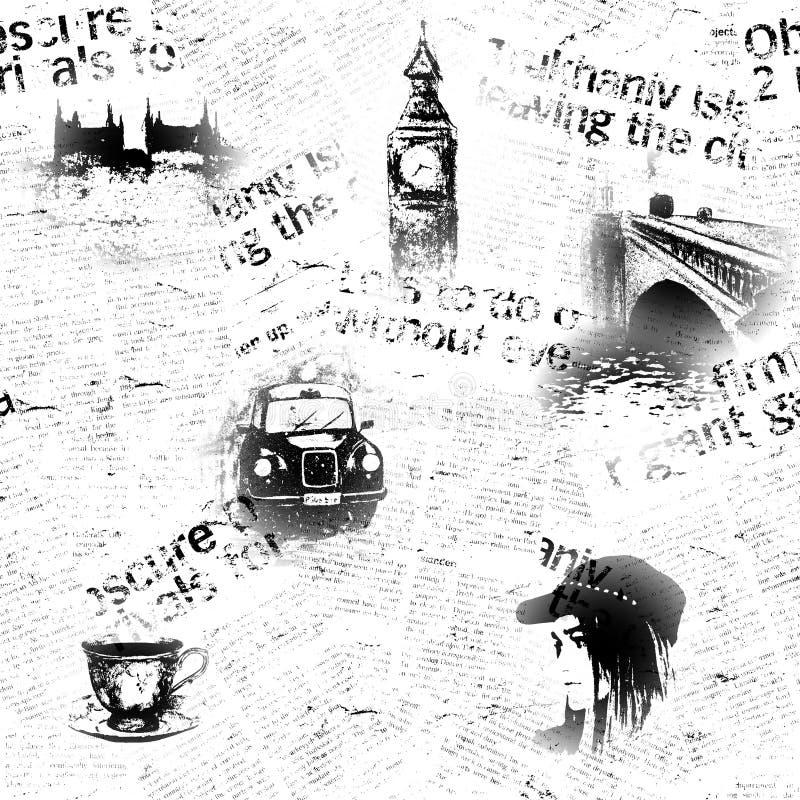 Czarny i biały Londyński grunge tło royalty ilustracja