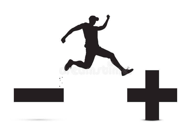 Czarny i biały mężczyzny doskakiwanie minus od znaka plus znak, pesymistyczny optymistycznie pojęcie ilustracja wektor