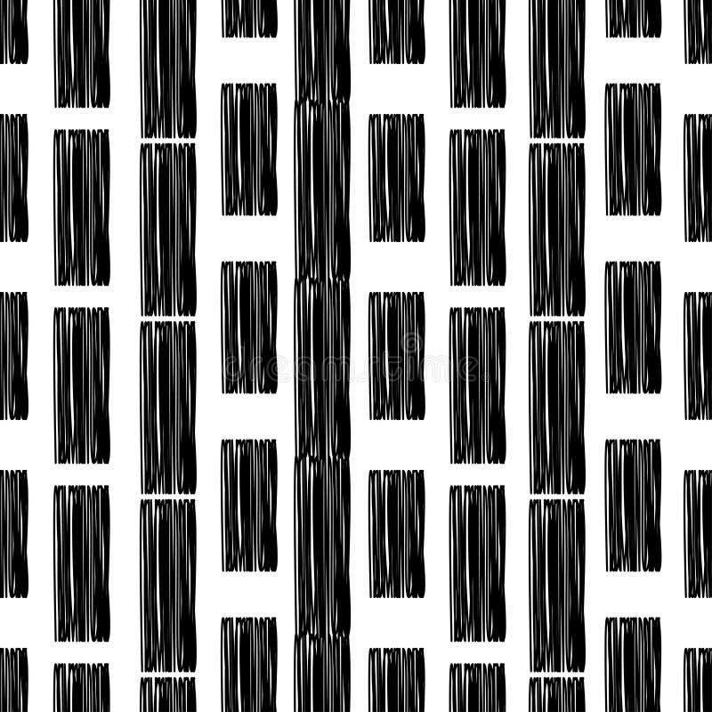 Czarny i biały malujący lampasy bezszwowy wzoru geometrycznego Jaskrawi kolory i prości kształty ilustracji