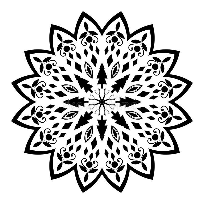 Czarny i biały mandala ilustracja ilustracja wektor