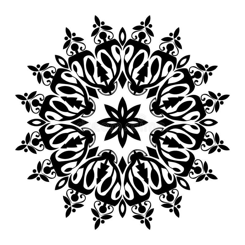 Czarny i biały mandala ilustracja ilustracji
