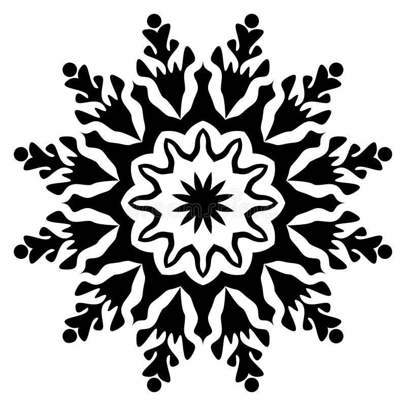 Czarny i biały mandala Kwiat, grafika ilustracja wektor